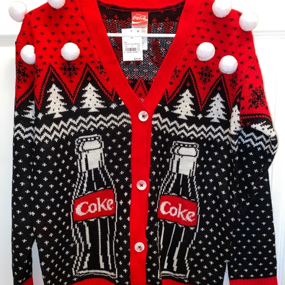 Women/'s Ugly Christmas Cardigan Sweater~Coca-Cola~Size Large~NEW